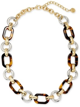 """Alfani Two-Tone & Tortoise-Look Chain Link Collar Necklace, 17"""" + 2"""" extender, Created for Macy's"""