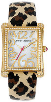 Betsey Johnson Iconic Crystal Rectangular Case & Leopard Strap Watch