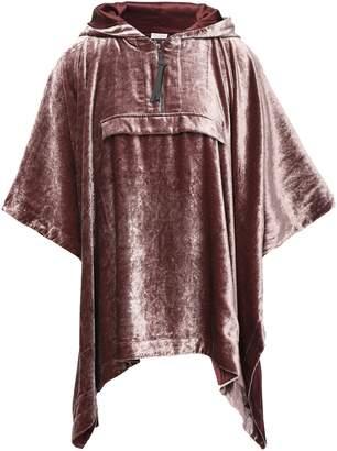 Brunello Cucinelli Bead-embellished Velvet Hooded Poncho