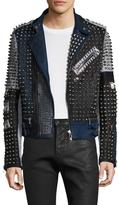 Diesel Black Gold Studs Lustice Leather Motorcycle Jacket