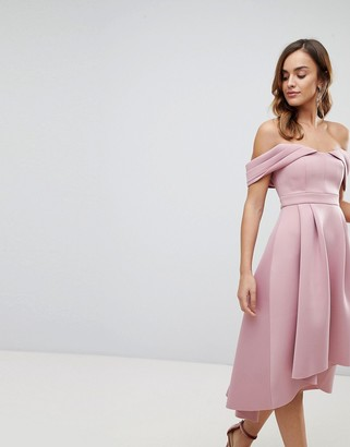 Bardot ASOS DESIGN cold shoulder dip back midi prom dress