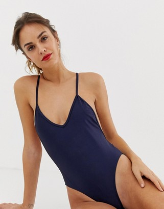 South Beach shiny navy swimsuit with plunge front and cut out back