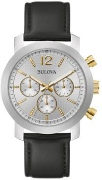 Bulova Men's Chronograph Black Leather Strap Watch 40mm