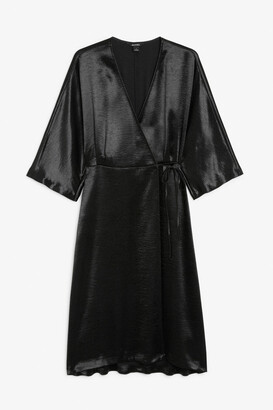 Monki Satin wrap dress