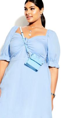 City Chic Puff Charm Dress - sky blue