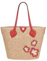 Anne Klein Flower Applique Straw Tote