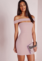 Missguided Cut Out Panel Bardot Bodycon Dress Lilac