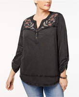 Style&Co. Style & Co Plus Size Cotton Embroidered Henley Top, Created for Macy's