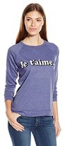C&C California Women's Scarlett Pullover Raglan with Je Taime Graphic