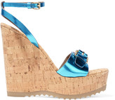 Stella McCartney Faux metallic patent-leather and cork wedge sandals