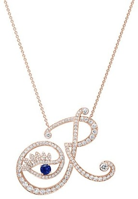 Tabayer Eye 18K Rose Gold, Sapphire & Diamond Romantic Pendant Necklace