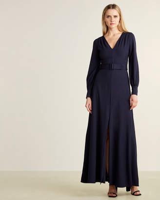 Eliza J Navy Belted Maxi Dress
