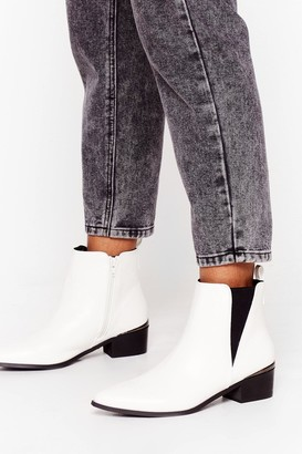Nasty Gal Womens Walk That Walk Faux Leather Chelsea Boots - White