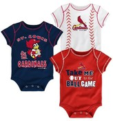 MLB St. Louis Cardinals Boys 3pk Bodysuit Crawlers
