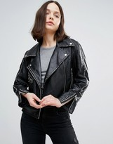 Urban Code Urbancode Leather Studded Biker Jacket