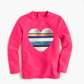 J.Crew Girls' rash guard with neon-striped heart