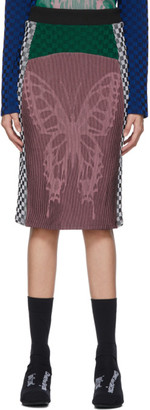 Farfalla Paolina Russo SSENSE Exclusive Pink and Green Illusion Knit Pencil Skirt