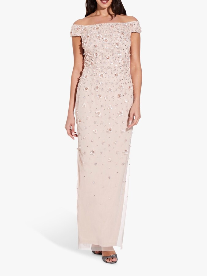 Adrianna Papell Off Shoulder Floral Beaded Gown, Shell