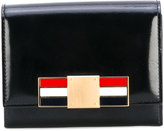 Thom Browne Short Zip Around Wallet With Red, White And Blue Enamel Clasp In Calf Leather