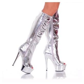 """The Highest Heel Halloween Women's 6"""" Knee High Platform Boot With Metal Detail"""