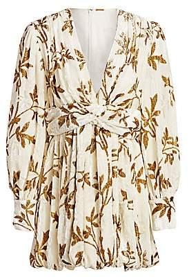 Dodo Bar Or Women's Anatalya Metallic Floral Silk Velvet V-Neck Dress