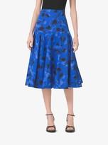 Michael Kors Poppy-Print Cotton-Matelasse Skirt