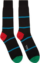 Paul Smith Black Chunky Rib Stripe Socks