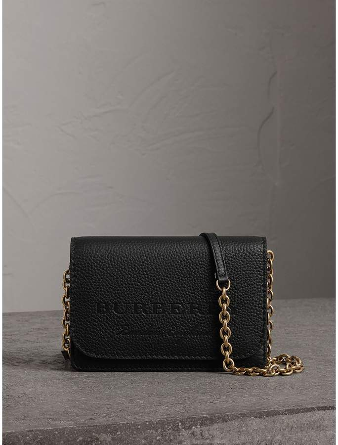 Burberry Embossed Leather Wallet with Detachable Strap