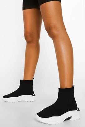 boohoo Chunky Contrast Sole Sock Trainer