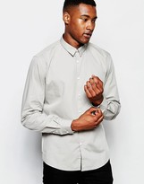 Dkny Shirt Hidden Button Down - Grey