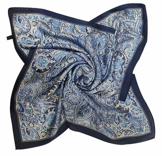 Fairystar Lady Paisley Satin Silk Scarf Small Square Pattern Print Neck Scarf Vintage Neckerchief for Women Girls Clothing Accessory Blue 21225