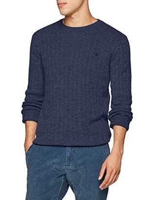 Brooks Brothers Men's Maglia Treccia Girocollo Wool Con Logo Jumper, Open Blue 475, Small