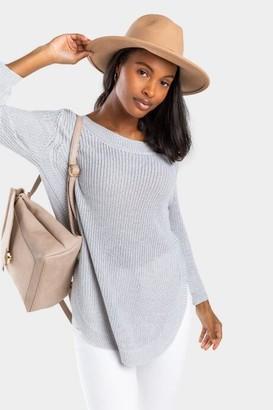 francesca's Piper Open Back Tunic Sweater - Gray