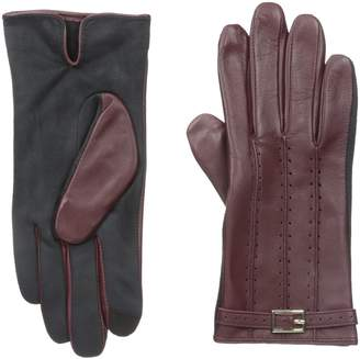 Adrienne Vittadini Women's Perforated Leather Touchscreen Gloves