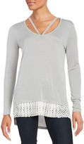 Context Lace-Trimmed Hi-Lo Top