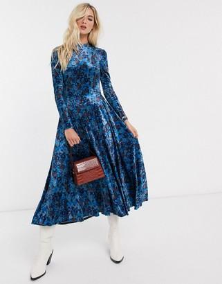 Free People velvet midi dress in blue floral