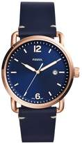 Fossil Men's FS5274 The Commuter Three-Hand Date Blue Leather Watch