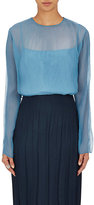 Nina Ricci Women's Fortuny Silk Plissé Blouse-BLUE