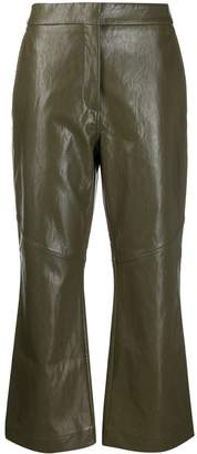 Cédric Charlier faux-leather flared cropped trousers