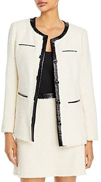 Rebecca Taylor Faux Leather Trim Tweed Jacket