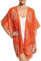 Flora Bella Auberge Embroidered Kimono Coverup, Orange