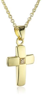 Xaana AMZ0211 Children's Cross Pendant with Zirconia 12 mm 8 Carat (333) Yellow Gold and Gold-Plated 925 Silver Chain Necklace