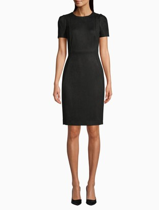 Calvin Klein Scuba Suede Sleeveless Sheath Dress