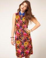 ASOS Shirt Dress In Rose And Aztec Print