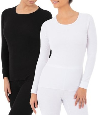 Fruit of the Loom Women's and Women's Plus Waffle Thermal Lounge Crew Top - 2 Pack