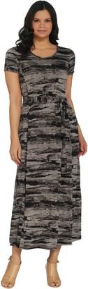 Halston H by Petite Printed Jet Set Jersey Maxi Dress