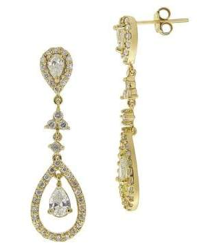 Lord & Taylor Cubic Zirconia Teardrop Chandelier Earrings