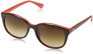 Joules Women's JS7014 132 Southwold Round Sunglasses, Brown/Red/Brown Lens