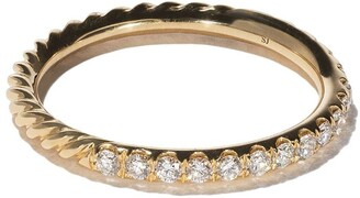 David Yurman 18kt yellow gold DY Unity Pave diamond wedding band
