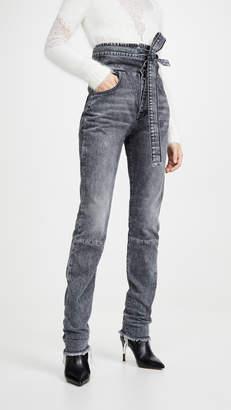 Unravel Project Stonewash Corset Sraight Leg Jeans